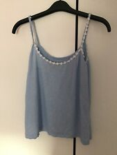 New Look Crochet Daisy Trim Cami Vest Top, Blue, Size 10