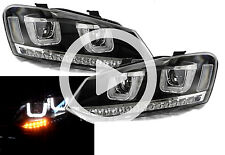 Rhd VW Polo 6R 09-14 Black DRL LED Projector Headlights Dynamic Indicator