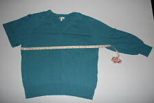 Women's Fashion Bug V-Neck Pullover Sweater Long Sleeve Green Sapphire 3X