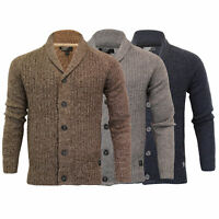 Mens Wool Mix Cardigans Threadbare Knitted Sweater Broken Standard Shawl Winter