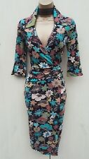 SIZE 10 UK Karen Millen Floral Jersey Shirt Style Cocktail Party Wrap Midi Dress