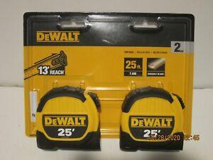 "DeWalt (2-Pack) DWHT79307 25' X 1-1/8"" Tape Measure 13' REACH NEW SEALED PAK FSP"