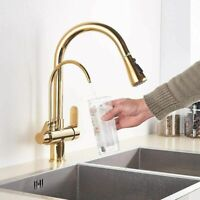 Gold Kitchen Sink Faucet 3 Way 2 Handle Pure Water Spout Out Filter Mixer Tap UK