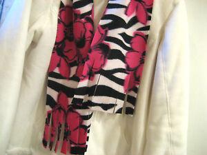 Scarf Muffler - Zebra Striped Black & White With Pink Flowers  Fleece Neckwarmer