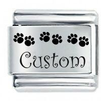Daisy Charm - Custom Made PAW PRINTS Name Dog Cat Fits Italian charm bracelets