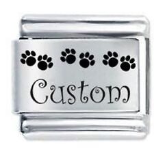 Personalised PAW PRINTS Name Dog Cat 9mm For Classic size Italian Charm Bracelet