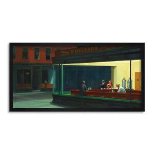 Edward Hopper Nighthawks Iconic Painting Long Framed Wall Art 12X25 In
