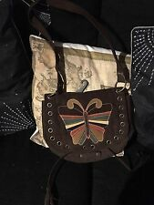 "Lovely Butterfly Bag By George Hippie Boho Biker Chick In Brown 8"" X 10"" Approx"