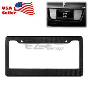 1Pc Plastic Black Carbon Fiber Style License Plate Frames Front & Rear Bracket