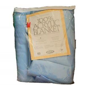 "Vtg NIP Owen 100% Acrylic Blanket Blue WINTER HAVEN Twin Full USA 72 x 90"" NEW"