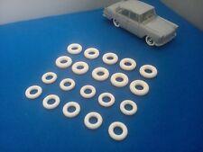 10 + 10 Pneus tyres dinky toys identique origine 15x8 et 18/8 blancs / whites