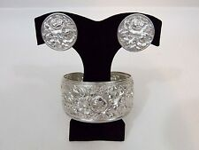 S. Kirk & Son Sterling Silver Repousse Cuff Bracelet and Clip On Earring Set