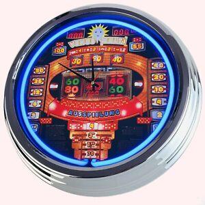 """N-0802 Wanduhr """"Geldspielautomat Venus Multi"""" Neonuhr Küche Deko Uhr Game Room"""