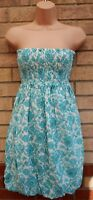 WAREHOUSE TURQUOISE GREEN FOLK FLORAL WHITE BANDEAU BUBBLE PUFFBALL DRESS S 8 10