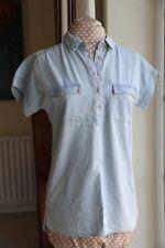 M & Co Size 8 Blouse Cotton Distressed Denim look Blue short sleeve
