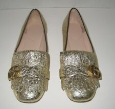 GUCCI GG MARMONT FLAT GOLD LEATHER SIZE 7.5US / 37.5EU $730