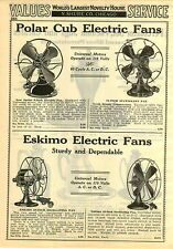"1929 PAPER AD Polar Cub Eskimo Electric Fan 16"" Oscillating AC DC Universal"