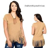 PLUS 70'S Rodeo Boho Coachella Camel Tan Faux Suede Leather Fringed Top 1X 2X 3X