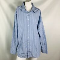 georgio armani mens shirt size 17 long sleeve button down blue white stripe