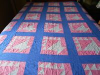 ANTIQUE VINTAGE PINK AND BLUE FLOWER BASKET HAND STITCHED QUILT