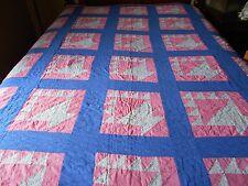 Antique Vintage Pink And Blue Flower Basket Hand Stitched Quilt