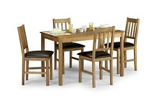 Julian Bowen Coxmoor Solid Wood White Oiled Oak Rectangle Large Table & 4 Chairs