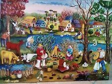 NAIF PAESAGGIO OLIO SU TAVOLA DI LEGNO 60 x 80 CM DIPINTO A MANO MADE IN ITALY