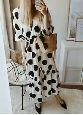 Bnwt H&M Large Spot Wrap dress BLOGGERS SOLD OUT midi Maxi Frill TREND Medium
