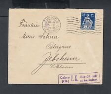 SWITZERLAND 1915/6 TWO WWI ALSACE CENSORED COVERS ZURICH & BELLINZONA TO FRANCE
