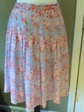 Joie Pink purple Floral  Silk Lined skirt stitched drop waist zipper sz S