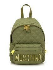 SS16 Moschino Couture Jeremy Scott STUDDED Quilted Olive Military Green Backpack