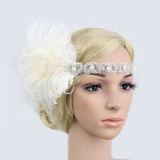 Woman Elastic Feather Headband Party Rhinestone Forehead Hair Decor