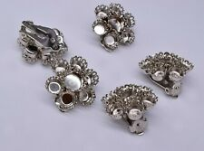 10 Vintage Garne' Round Silver Tone Earring Clip On Finding Jewelry Making 23 mm
