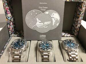 ORIS OCEAN TRILOGY BLUE WHALE,GREAT BARRIER 3 & CLEAN LTD EDT 200 PIECES - NEW !