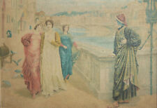 Antique realist print on canvas figures signed