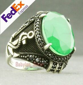Anchor 925 Sterling Silver Handmade Emerald Men's Luxury Ring All Sizes
