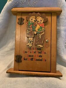 Vintage Western Cowboy Cowgirl Wooden Leave a Note Door Box