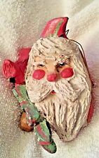 1992 House of Hatten Santa Claus Head Red Cardinal Green Bow Christmas Ornament
