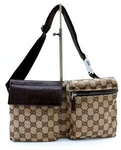 【Rank AB】Authentic Gucci Body bag Waist bag Crossbody Unisex GG Canvas 28566