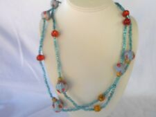 """NEW FROM OVERSTOCK ITEMS,  BLUE BEAD  52"""" LONG  NECKLACE.....VERY NICE"""