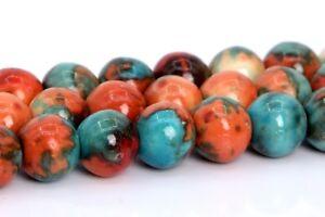 "6MM Orange & Blue Rain Flower Jade Beads Grade AAA Round Loose Beads 15.5"""