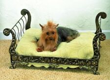 NEW STUNNING SLEIGH VICTORIAN IRON GOLD ORNATE ACANTHUS SCROLL PET DOG CAT BED