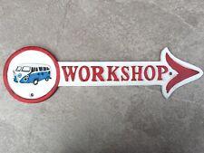 VW Camper Van Sign Workshop  Large 40cm Cast Iron Repro Plaque Garage Man Cave