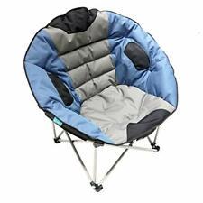 Grey/Blue XXL Camping folding moon chair