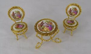 Jean Feuillade Limoges France 3 pcs Miniature Dollhouse Furniture Table & Chairs