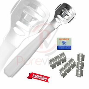 White Callus Corn Hard Skin Remover Shaver Foot Pedicure Kit Feet with 10 Blades