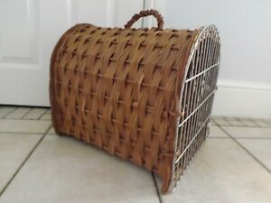 WICKER CAT CARRIER TRAVEL BASKET CRATE