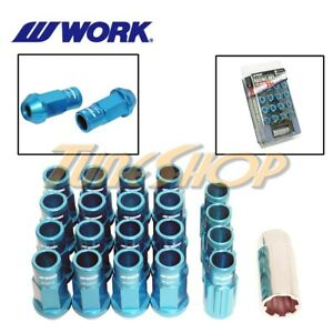 WORK RACING RS-R EXTENDED FORGED ALUMINUM LOCK LUG NUTS 12X1.5 1.5 BLUE OPEN M