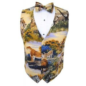 Zoofari Jungle Animal Print Tuxedo Vest and Bowtie