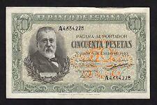 F.C. 50 PESETAS 1940 , SERIE A , EBC- , ABARQUILLADO .